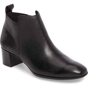 NEW Munro Black Leather Alix Block Heel Ankle Boot